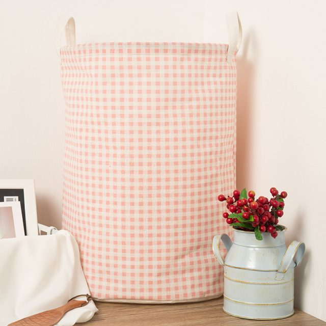 Kid's Plaid Pastel Storage Basket