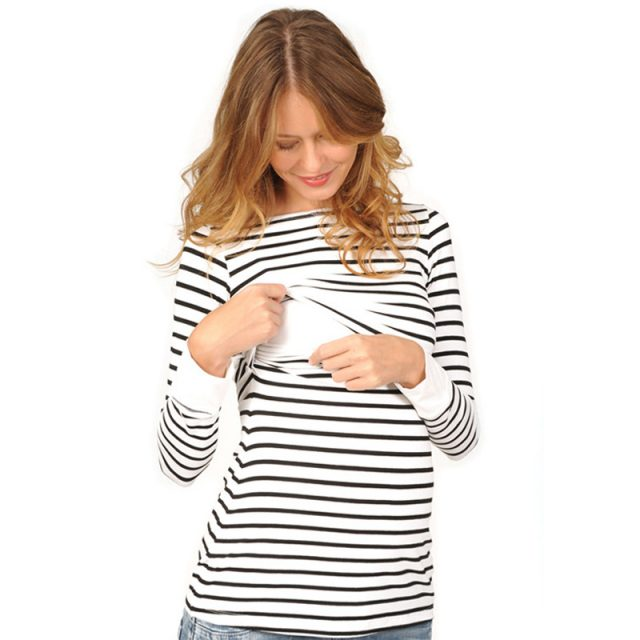Easy Nursing Casual Striped Maternity Sweater