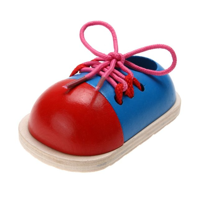 Lacing Shoes Early Education Wooden Toy