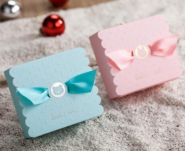(50/100pcs) Bunny Bear Baby Boy/Girl Shower Gift Boxes