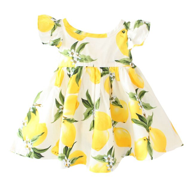 Summer Fly Sleeve Lemon Pattern Dresses