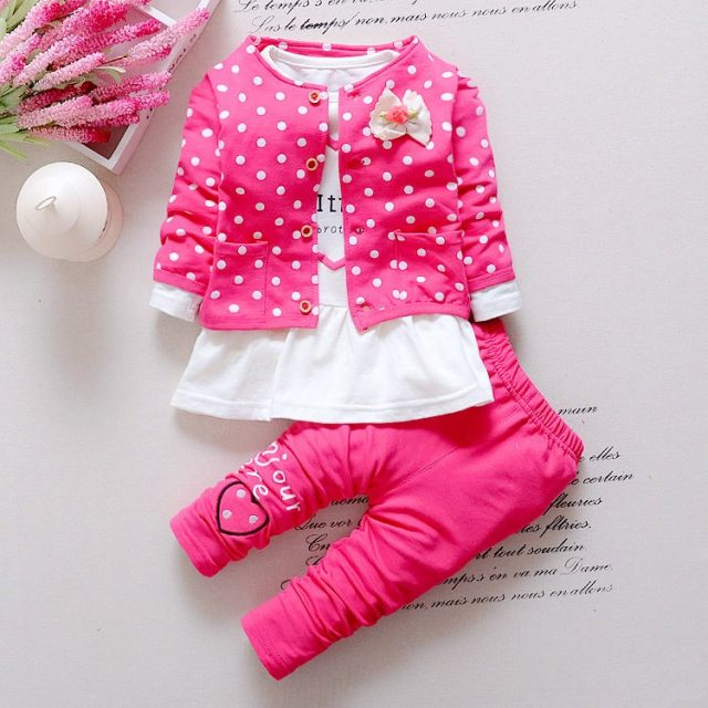 Baby Girl's Polka Dot Patterned Cotton Clothing Set
