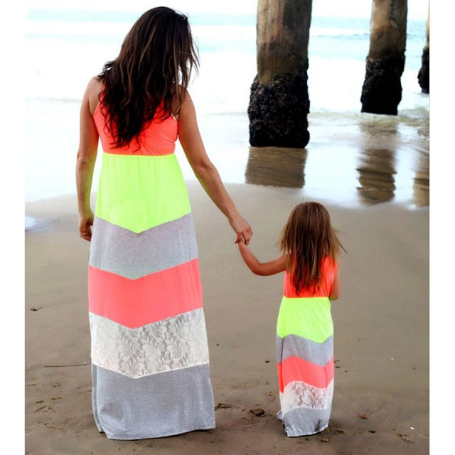Mother And Daughter Matching Striped Dresses
